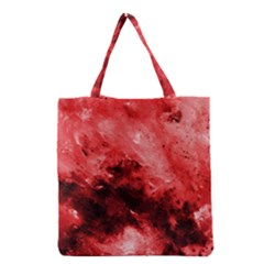 Red Abstract Grocery Tote Bags