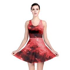 Red Abstract Reversible Skater Dresses