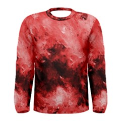 Red Abstract Men s Long Sleeve T Shirts