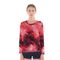 Red Abstract Women s Long Sleeve T Shirts