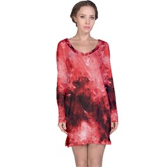 Red Abstract Long Sleeve Nightdresses