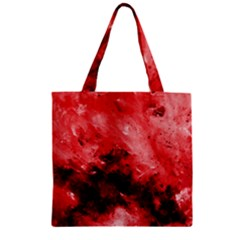 Red Abstract Zipper Grocery Tote Bags