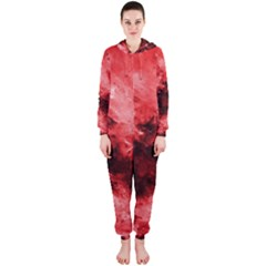 Red Abstract Hooded Jumpsuit (ladies)