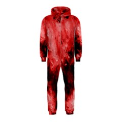 Red Abstract Hooded Jumpsuit (Kids)
