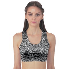 Gray Cubes Sports Bra