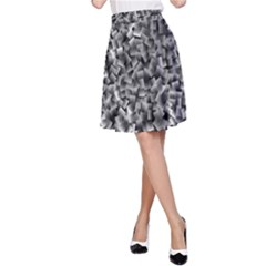 Gray Cubes A-Line Skirts
