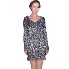 Gray Cubes Long Sleeve Nightdresses