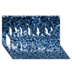 Blue Cubes Merry Xmas 3d Greeting Card (8x4)