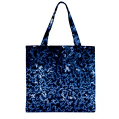 Blue Cubes Zipper Grocery Tote Bags