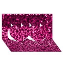 Pink Cubes Twin Hearts 3d Greeting Card (8x4)