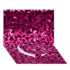 Pink Cubes Circle Bottom 3d Greeting Card (7x5)