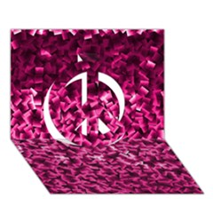 Pink Cubes Peace Sign 3d Greeting Card (7x5)