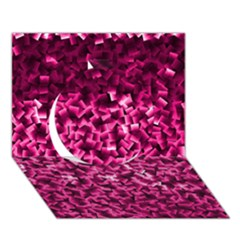 Pink Cubes Circle 3d Greeting Card (7x5)