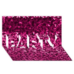 Pink Cubes Party 3d Greeting Card (8x4)
