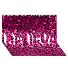 Pink Cubes Believe 3d Greeting Card (8x4)