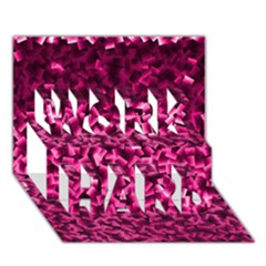 Pink Cubes Work Hard 3d Greeting Card (7x5)