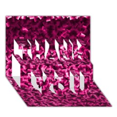 Pink Cubes Thank You 3d Greeting Card (7x5)