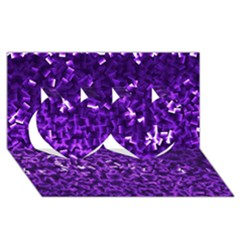 Purple Cubes Twin Hearts 3D Greeting Card (8x4)
