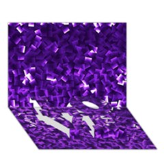 Purple Cubes LOVE Bottom 3D Greeting Card (7x5)