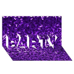 Purple Cubes PARTY 3D Greeting Card (8x4)