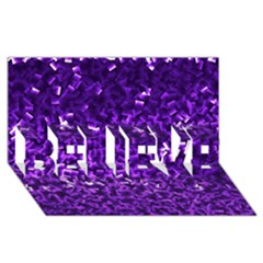 Purple Cubes BELIEVE 3D Greeting Card (8x4)