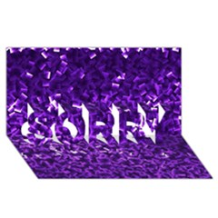 Purple Cubes Sorry 3d Greeting Card (8x4)