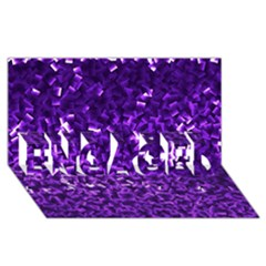 Purple Cubes ENGAGED 3D Greeting Card (8x4)