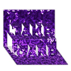 Purple Cubes Take Care 3d Greeting Card (7x5)