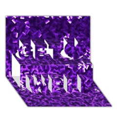 Purple Cubes Get Well 3D Greeting Card (7x5)