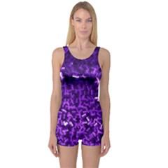 Purple Cubes Women s Boyleg One Piece Swimsuits