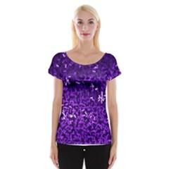Purple Cubes Women s Cap Sleeve Top