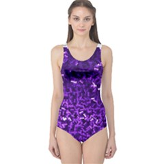 Purple Cubes Women s One Piece Swimsuits