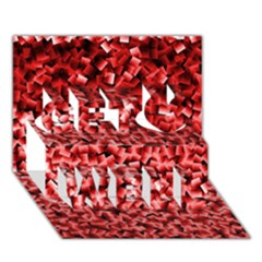 Red Cubes Get Well 3D Greeting Card (7x5)
