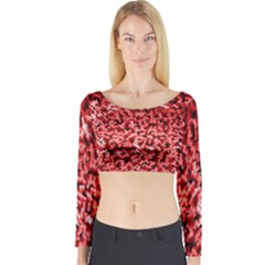 Red Cubes Long Sleeve Crop Top