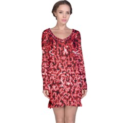 Red Cubes Long Sleeve Nightdresses