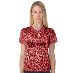 Red Cubes Women s V-Neck Sport Mesh Tee