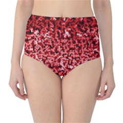 Red Cubes High Waist Bikini Bottoms
