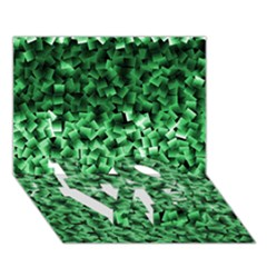 Green Cubes LOVE Bottom 3D Greeting Card (7x5)