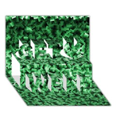 Green Cubes Get Well 3D Greeting Card (7x5)