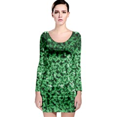 Green Cubes Long Sleeve Bodycon Dresses