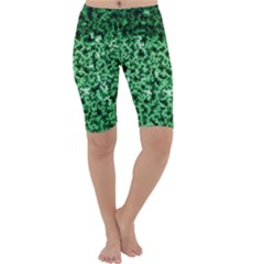 Green Cubes Cropped Leggings