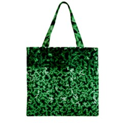 Green Cubes Zipper Grocery Tote Bags