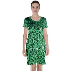 Green Cubes Short Sleeve Nightdresses