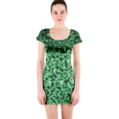 Green Cubes Short Sleeve Bodycon Dresses