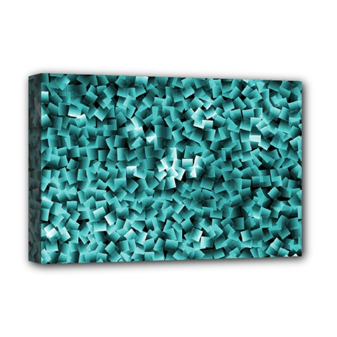Teal Cubes Deluxe Canvas 18  X 12