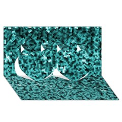 Teal Cubes Twin Hearts 3D Greeting Card (8x4)