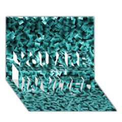 Teal Cubes You Are Invited 3d Greeting Card (7x5)