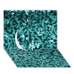 Teal Cubes Circle 3D Greeting Card (7x5)