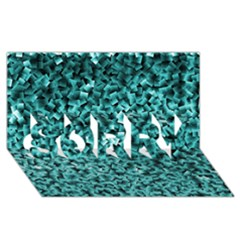 Teal Cubes Sorry 3d Greeting Card (8x4)