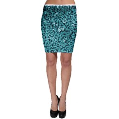 Teal Cubes Bodycon Skirts
